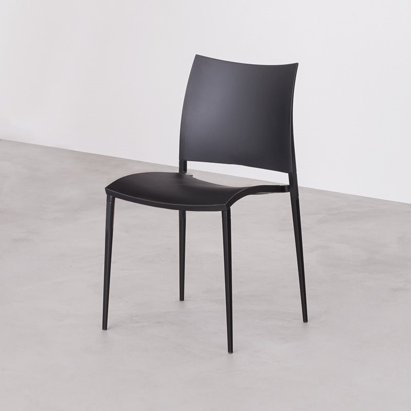 Stacking chair with or without armrests die-cast aluminium frame. Seat and back of polypropylene reinforced with ber glass stabilised anti-UV. & Sand